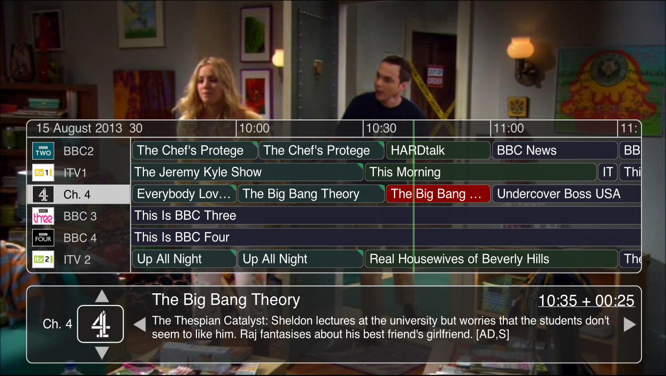 OverView:Guide in live EPG mode